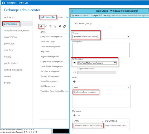 Configure an Impersonation Account to User Mailboxes